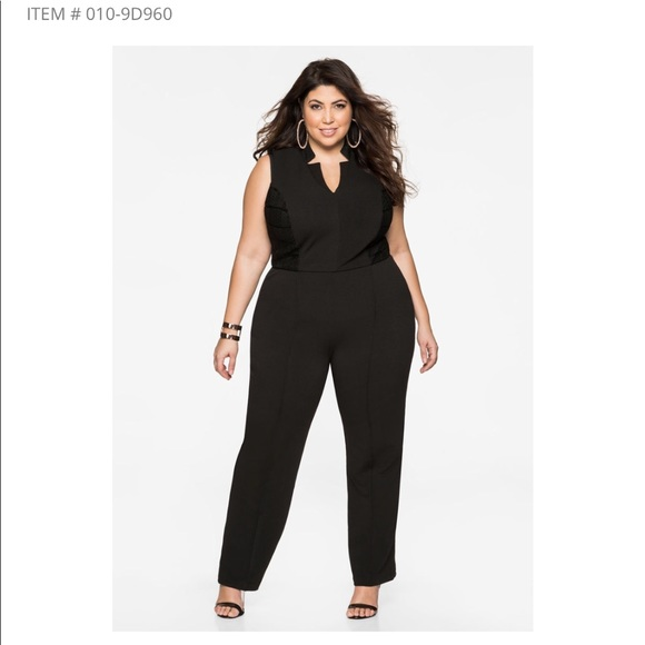 Ashley Stewart Pants Black Jumpsuit With Lace Detail Poshmark